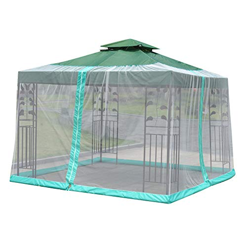 Jurong Outdoor Iron Tent Mosquito Netting - Polyester Mesh Screen with Zipper Opening and Patio Water Tube at Base to Hold in Place - Helps Protect from Mosquitoes Polyester Fiber,Black(9.8x9.8x7.5ft)