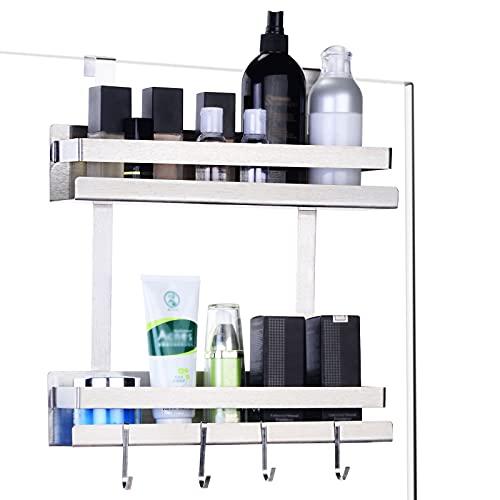 ENCOFT Estante de baño para colgar, organizador de ducha con 4 ganchos, estante de ducha, organizador de accesorios de baño, organizador de ducha, cesta de baño, almacenamiento para champú, jabón