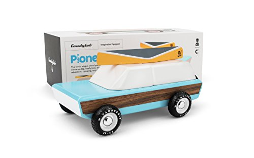 Candylab Toys Wooden Cars, Pioneer Classic Model with Canoe, Modern Vintage Style Collectible, Kids Toy Cars, Solid Beech Wood