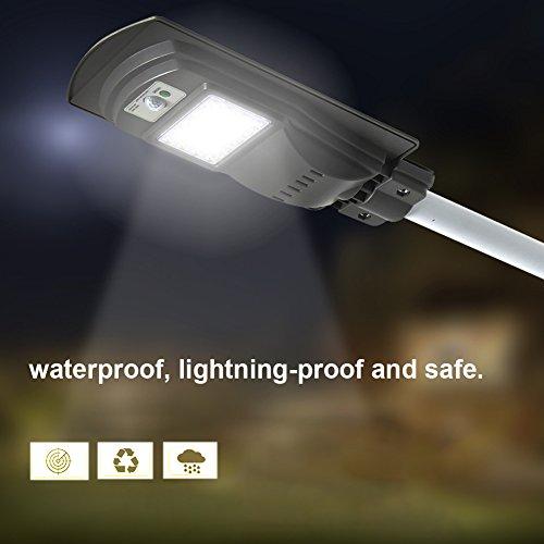 Luz solar de calle a amanecer, 20 W, resistente al agua al aire última intervensión, luz solar de calle, comercial o industrial de grado de seguridad callejeras, perfecto para zonas de iluminación al aire última intervensión, gris