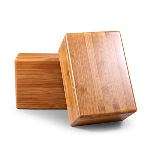 ADAFY Bambus Yoga Blöcke Ziegel Gerüche Wasserbeständiger Holz Bambus Yoga Block Leichtes, umweltfreundliches, schlankes Design für Yoga-2PCs