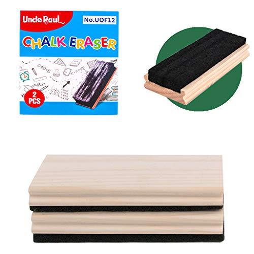 Chalkboard Eraser - 2 PCS Pine Wood Felt Campus Style Eraser Cleaner Duster for Blackboard Whiteboard Chalk Eraser Office School Supply Engravable DIY Gift Uncle Paul UOF12-01