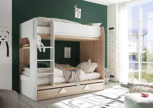 lifestyle4living Etagenbett in Eiche Sonoma-Dekor mit modernen Absetzungen in weiß, für himmlichen Schlaf, Hochbett mit 2 Liegeflächen, je 90 x 200 cm