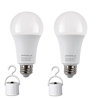 Rechargeable Emergency LED Bulb JackonLux Battery Backup Emergency Light for Power Outage Camping Outdoor Activity Hurricane 9W 850 Lumens (60W Equivalent) 2 Pack