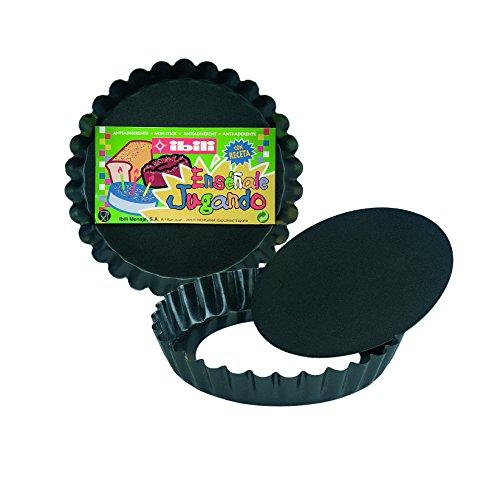 IBILI 822912 Moule à Tarte Dentelle Amovible Moka, Tôle d'acier, Noir, 12,2 x 12,2 x 2 cm