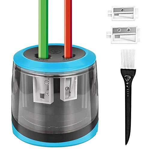 HOMMINI Taille Crayon Electrique Alimenté par USB ou par piles avec 2 Tailles d orifice pour Crayons, Brosse Propre et 4 Lames de Remplacement, Taille-Crayon Automatique pour la Classe, Bureau