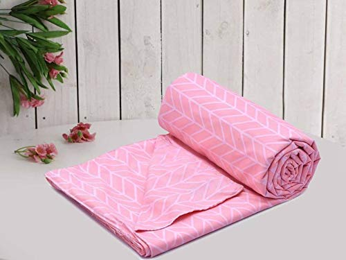MORADO Glace Cotton Geometric Duvet Cover - Single, Pink with Zipper