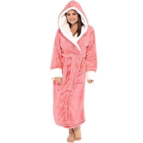 Mingyun Damen Lang Bademantel Morgenmantel Flanell Samt SPA Nachtwäsche/Langarm Saunamantel mit Schalkragen V Ausschnitt Flauschig Perfekt für Loungewear