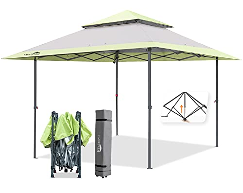 EAGLE PEAK 13' x 13' Straight Leg Pop Up Canopy Tent Instant Outdoor Canopy Easy Set-up Folding Shelter w/ Auto Extending Eaves 169 Square Feet of Shade (Gray/Green)