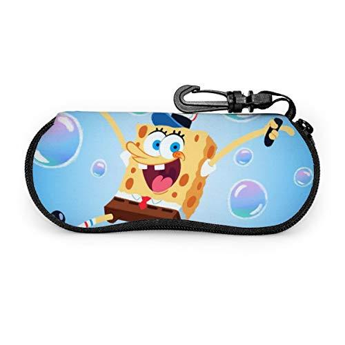 Cartoon Bubble Spongebob Schwammkopf Brillenetui, tragbar, Reise-Reißverschluss, Sonnenbrillenetui, Brille, Tasche, Schutz-Set