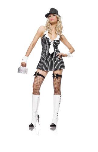 Leg Avenue Miss maffia Womens Fancy jurk kostuum 83284 zwart/wit