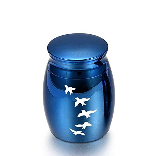 VVHN 16x25mm / Argent/Bleu en Alliage d'aluminium Urnes Animaux de Compagnie Oiseaux crémation Cendres urne Souvenir Humain Cercueil Columbarium Animaux mémoriaux