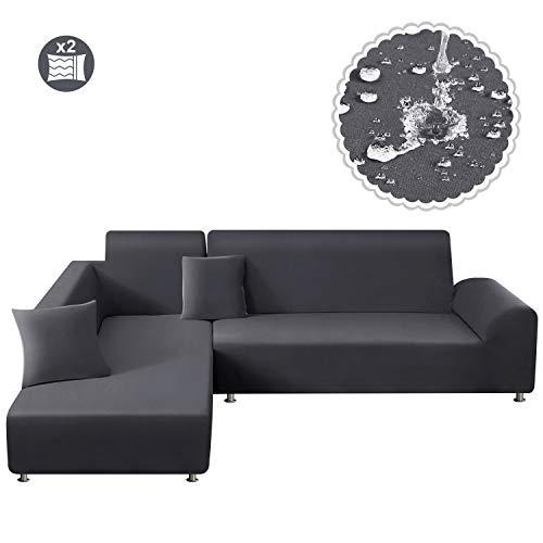 TAOCOCO Sofa Überwürfe Sofabezug Elastische Stretch Wasserdicht Sofa Abdeckung für L-Form 2er Set mit 2 Stücke Kissenbezug (3 Sitzer+3 Sitzer, Grau)