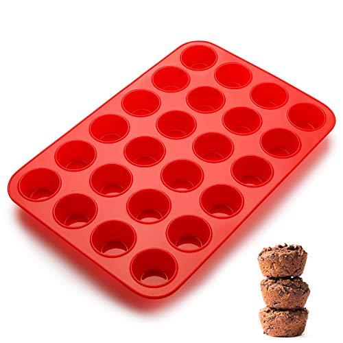 SveBake Mini Muffinform - 24er Silikon Muffinblech Backformen mit Antihaftbeschichtung für Muffins, Cupcakes, Brownies, Kuchen, Pudding, 34x23x2.5cm, Ø 4,5cm, Rot