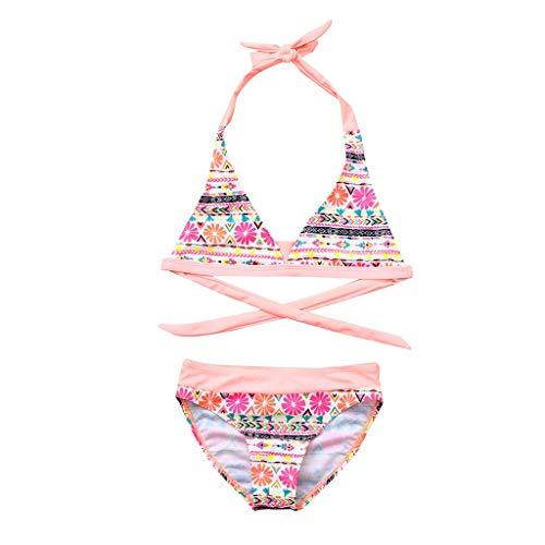 Xumilala Drucken Einteiliger Badeanzug Rosa Langarm-Bikini-Rock Kinder Kinder Mädchen Bikini Beach Flower