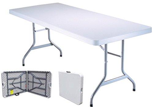 Tavolo Tavolino pieghevole richiudibile in dura resina bianco 183x76xH72 cm per sagra campeggio fiera casa giardino buffet piedi ferro a valigetta da interno esterno prolunga per ospiti rettangolare