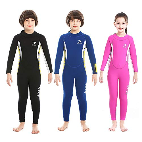 2.5mm Neoprene Kids Full Wetsuit, One Piece Swimsuit for Boys and Girls, Children Diving Suit with Back Zip for Swimming, Diving, Snorkeling and Other Water Sports