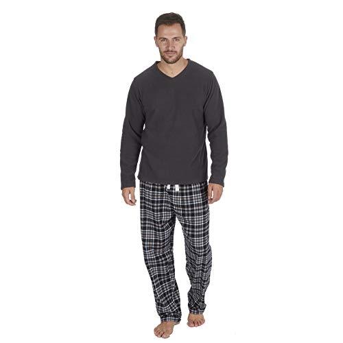 Herrenpyjama-Set, langarm / gemütliche, warme Thermo-Nachtwäsche für kalte Nächte Gr. M, Graues Fleece-Oberteil mit schwarzem Karomuster