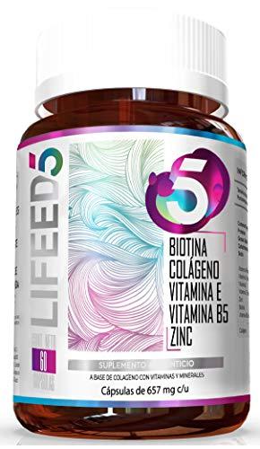 LIFEED5 HAIR & NAILS 60 Cáps | Biotina, Colágeno, Vitamina E Y B5 (Pantenol), Zinc | Ingredientes Naturales | Vitaminas y Nutrientes para el Cabello, Piel y Uñas | Reforzado con Vitamina C | Frasco con 60 Cápsulas