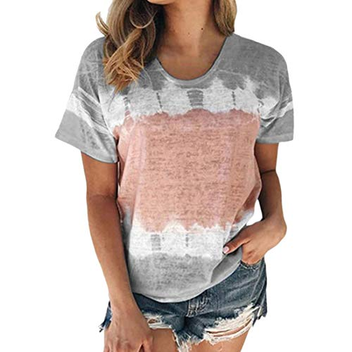 Camisetas de Manga Corta para Mujer Camisetas de Verano con Cuello Redondo y Estampado de teñido Anudado Blusas de Moda con teñido Anudado teñido Anudado de Verano Corta con Cuello Redondo Informal