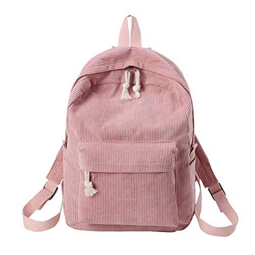 TENDYCOCO Mochila para mujer Multifunción Mochila de pana de moda para niñas, mujeres estudiantes (rosa)