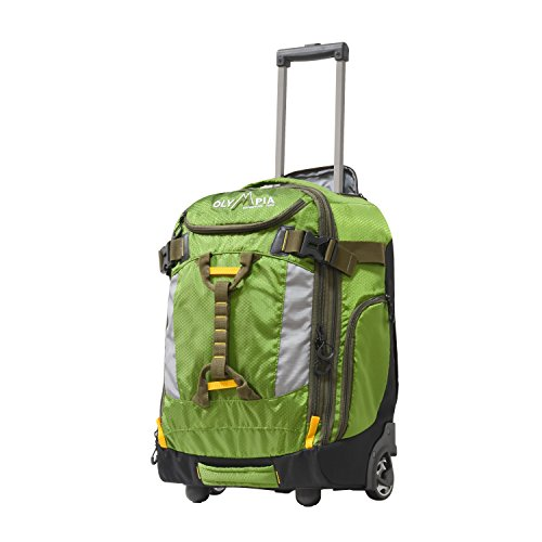 """Olympia Cascade 20"""" Outdoor Upright Carry-on W/Hideaway Backpack Straps, Green, One Size"""