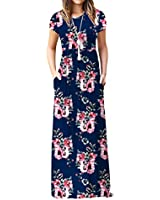 VIISHOW Women's Short Sleeve Floral Dress Loose Plain Maxi Dresses Casual Long Dresses with Pockets(Floral Navy Blue XS)