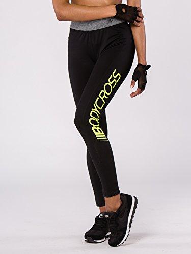 BODYCROSS Legging Long Femme Noir Running, Training - Polyester/Élasthane - Ceinture Élastique Gris Chiné avec Poche Zippée Dos - Logo Long sur Jambe Gauche