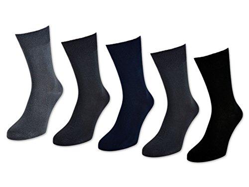 10 bis 60 Paar Herrensocken 100% Baumwolle ohne Naht Business Herren Socken Schwarz (Schwarz/Blau/Grau - 39-42, 30 Paar)