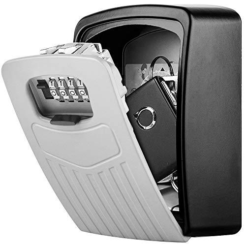 Schlüsseltresor Wandmontage BTNEEU Schlüssel Safe Groß für Schlüssel, Schlüsselsafe Aussen mit 4-stelligem Zahlencode, Gross Schlüsselbox für Draußen, Innen, Auto, Zuhause, Garage (silber)