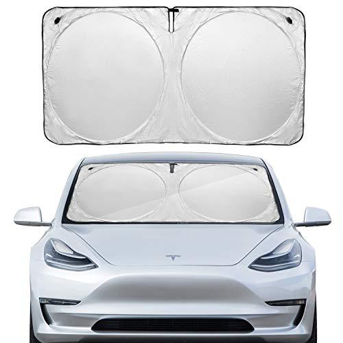 Model 3 Windschutzscheibe Sonnenblende Klappbarer Sonnenblendenschutz Sonnenblendenabdeckung mit Saugnapf für Tesla Model 3