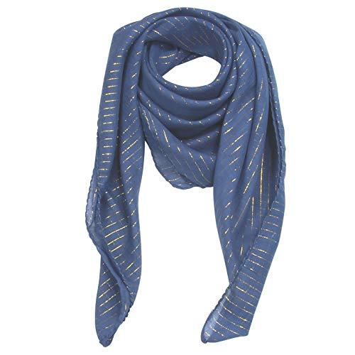 Superfreak Baumwolltuch - blau - navy Lurex gold - quadratisches Tuch