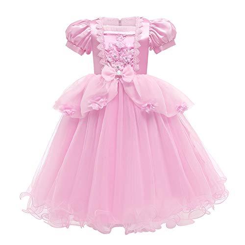 IWEMEK Vestido de Princesa Cenicienta Disfraz Maxi Largo de Tul Cuento de Hadas Niñas Disfraces de Carnaval Halloween Navidad Cumpleaños Ceremonia Fiesta Vestidos Ropa #06: Rosa 4-5 años