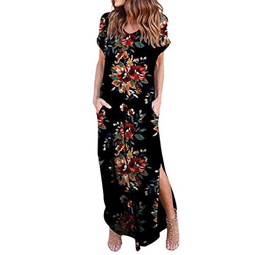 Momoxi Damen Sommerkleid Casual lose Taschen-Lange Kleid-Kurze Hülsen-aufgeteilte Maxi Kleider der Frauen Lange Abendkleid Knielang schöne minikleid ballkleid weiße große größen Schwarz XL