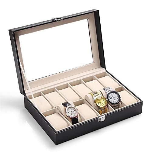 ZXFD Watch Box Organizer 12 Men Display Case Storage Bisagra de Metal Black PU Leather Top Large Holder
