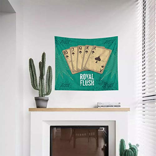 Miles Ralph Vintage Tapestry Wall Hanging Ornament Retro Casino Poster Print Royal Flush with Game Cards Lucky Joker Hobby Image Printed Tapestry Wall Hanging 51.2'x59.1' Sea Green Beige