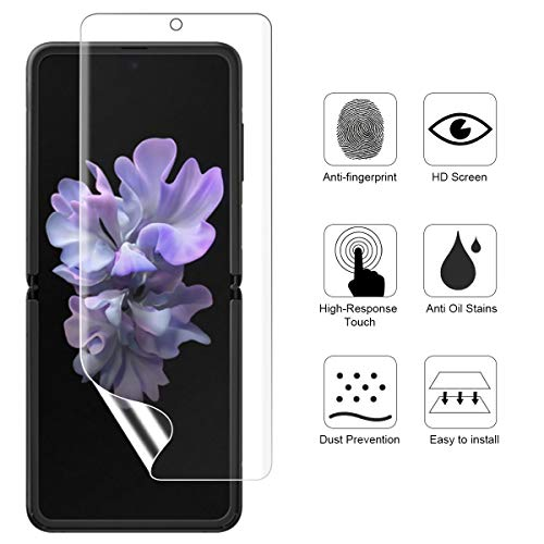 (3 Sets) Ermorgen Protector Compatible For Samsung Galaxy Z Flip, Z Flip 5G(Full Coverage) High Definition Edge to Edge HD, Anti-Scratch (Lifetime Replacement)