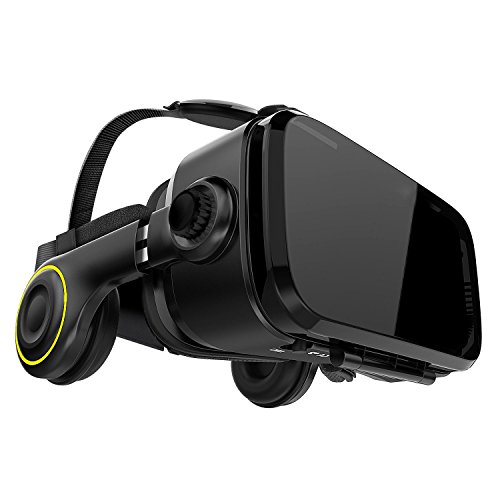 VR Brille VR-Shark® X4 - VR-Box / VR-Headset für 4,7 - 6,1 Smartphones | Komp. zu Nexus, Samsung, Lumia, LG, Moto, HTC, Huawei, Sony inkl. Kopfhörer + QR Codes [FOV 120° | PD + FD | Android]
