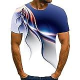 Musculosa Shirt Hombre Verano Estirarse Cuello Redondo Hombre Shirt Novedad 3D Estampado Manga Corta Casuales Camisas Creativa Streetwear Culturismo Ejercicio Hombre T-Shirt T04 XL