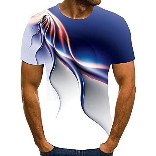 Shirt Deportiva Hombre Verano Slim Fit Cuello Redondo Impresión 3D Creativa Hombre Shirt Personalidad Transpirable Shirt Ocio Manga Corta Diseño De Tendencia Hombre T-Shirt T04 M
