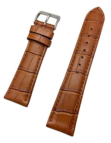 22mm Honey Brown Genuine Leather Watch Band | Square Alligator Crocodile Grain, Lightly Padded Replacement Wrist Strap that brings New Life to Any Watch (Mens Standard Length)