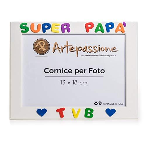 """Cornici per Foto in Legno 13x18 con la Scritta""""Super Papà TVB"""" e Decorata con Cuoricini, da Appoggiare o Appendere. Bianca. Ideale per Regalo e Ricordo."""