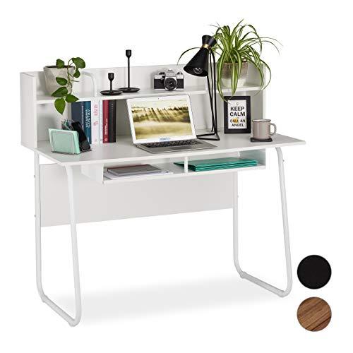 Relaxdays Schreibtisch, Ablagefläche unter Arbeitsplatte, Zusatzablage, Kabeldurchlass, HxBxT: 109 x 120 x 60 cm, weiß