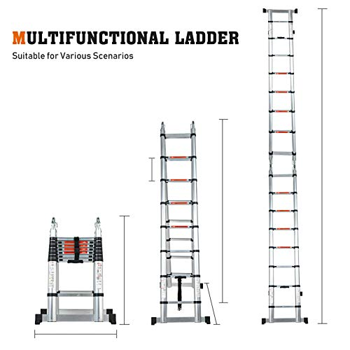 SUNCOO Multi-Position Ladders, 2.8-24.5Ft. Extension Ladder, Lightweight Aluminum Telescoping Ladders, Easy Retraction Anti-Slip Telescopic Extendable Climb Attic Ladder with 330 lbs Weight Rating