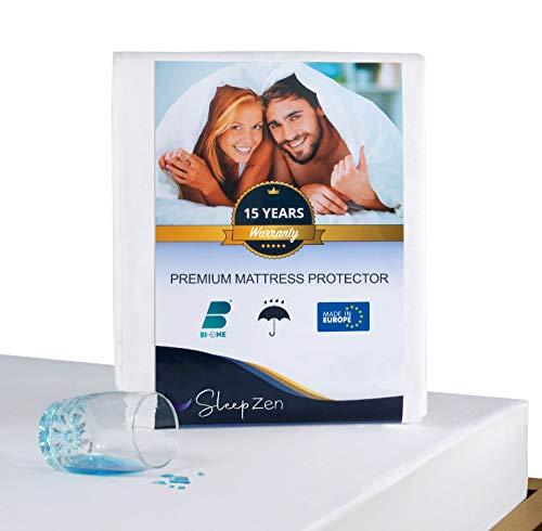 SLEEPZEN Protector de Colchon 90 x 190 cm Impermeable - Cubre Colchon Certificado Oeko-Tex® - Membrana Protectora de Poliuretano - Antibacteriano, Antimoho, Anti-Ácaros