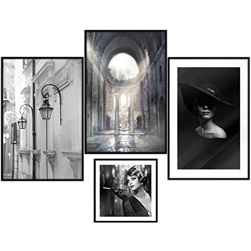 murando Poster 4er-Set Bilder Kunstdruck Posterset Plakat Wandbild Print Kunstposter Wandposter Wandbild Wohnung Wanddeko Design Architektur schwarz weiß Frau Denkmal