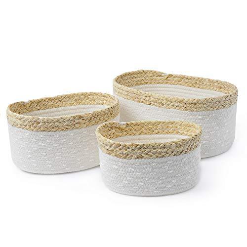 Baumwollseil gewebter Aufbewahrungskorb 3er Set Baumwoll für Wohnzimmer, Bad, Kinderzimmer stapelbare Mehrzweck-Organisationsbehälter