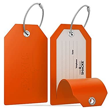 Shacke Luggage Tags with Full Back Privacy Cover w/ Steel Loops - Set of 2 (Orange)