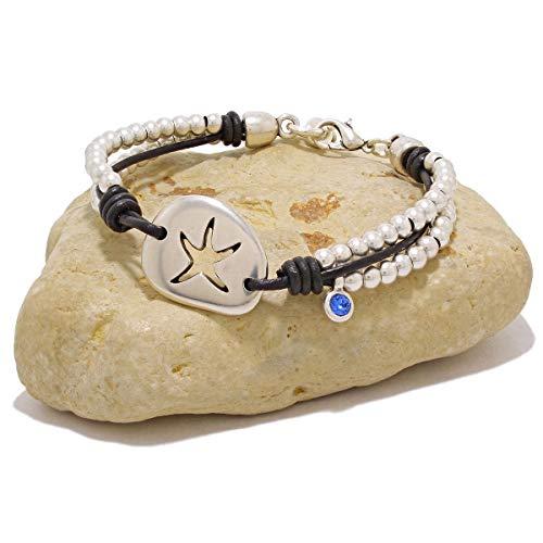 Lederarmband und Sternperle mit Swarovski-Charme, handgefertigt von Intendenciajewels - Lederarmband für Damen - Swarovski-Armband - Leder- und Perlenarmband -...