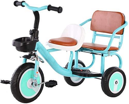Knoijijuo A Due Ruote Tricicli Triciclo può Portare Le Persone Doppia Carrozzina Seggiolino Bici A Due Posti Comodi Bambino Molle Giocano,Blu